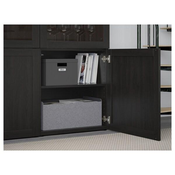 BESTÅ Combinação arrumação c/portas vidro, preto-castanho Hanviken/Sindvik vidro transp preto-castanho, 120x42x193 cm