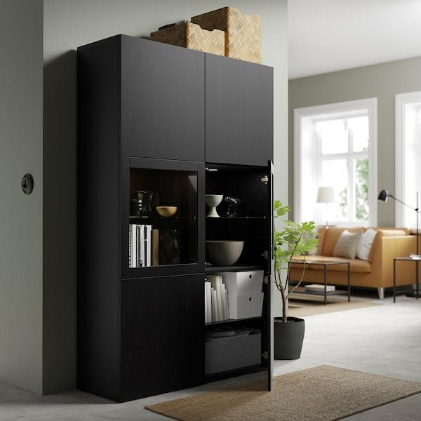 BESTÅ Combinação arrumação c/portas vidro, preto-castanho Lappviken/Sindvik vidro transp preto-castanho, 120x42x193 cm