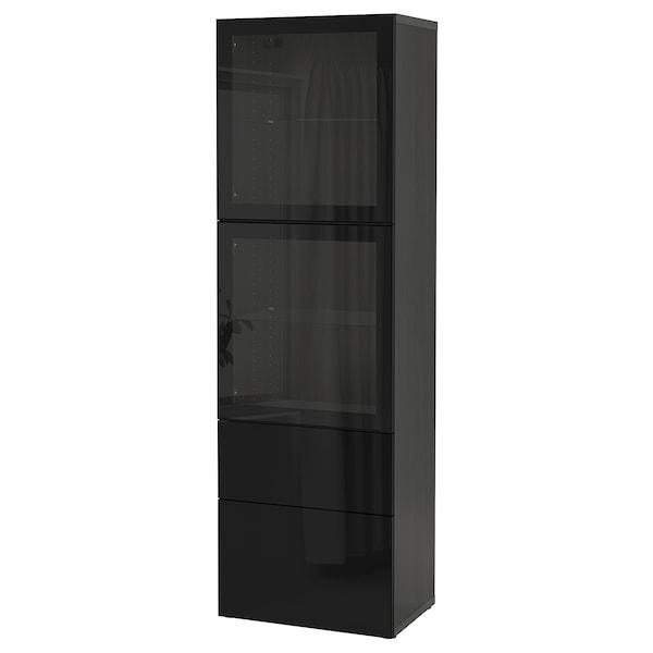 BESTÅ Combinação arrumação c/portas vidro, preto-castanho/Selsviken vidro inc preto/brilhante, 60x42x193 cm