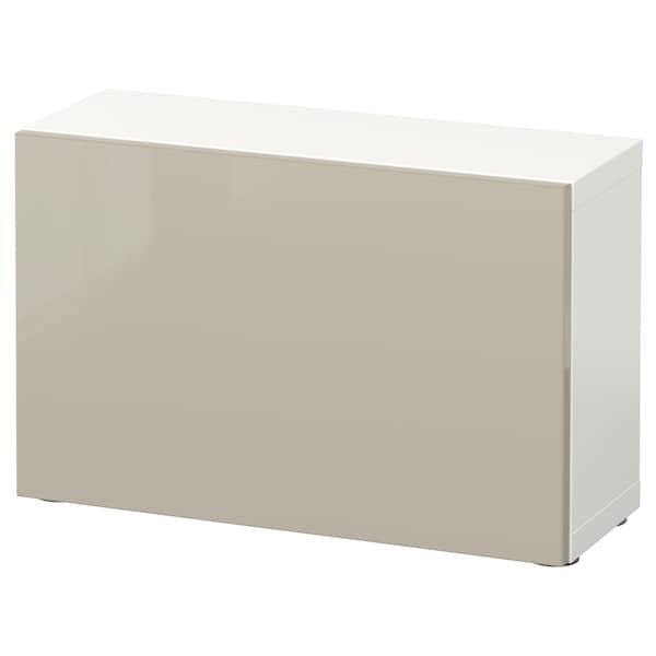 BESTÅ Estante c/porta, branco/Selsviken brilhante/bege, 60x22x38 cm