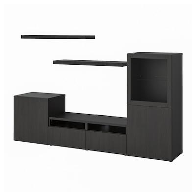 BESTÅ / LACK Combinação móvel TV, preto-castanho, 240x42x129 cm