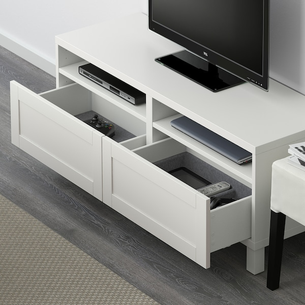 BESTÅ Móvel de TV c/gavetas, branco/Hanviken/Stubbarp branco, 120x42x48 cm