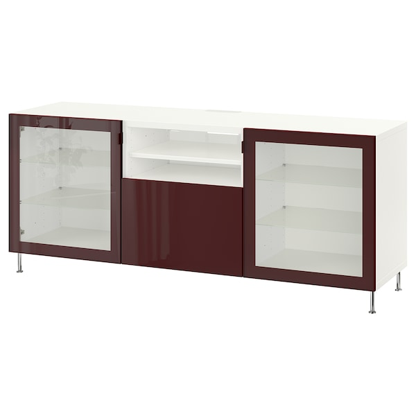 BESTÅ Móvel de TV c/gavetas, branco Selsviken/Stallarp/brilh vermelho acastanhado escuro, 180x42x74 cm