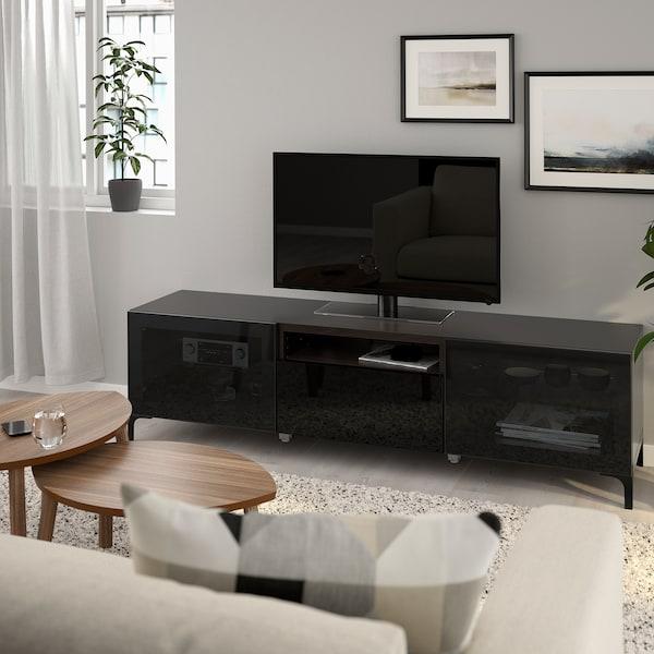 BESTÅ Móvel TV, preto-castanho/Selsviken/Nannarp vidro fumado preto/brilhante, 180x42x48 cm