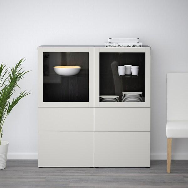BESTÅ combinação arrumação c/portas vidro pret-cast/Lappviken vidro transparente cinzento claro 120 cm 40 cm 128 cm