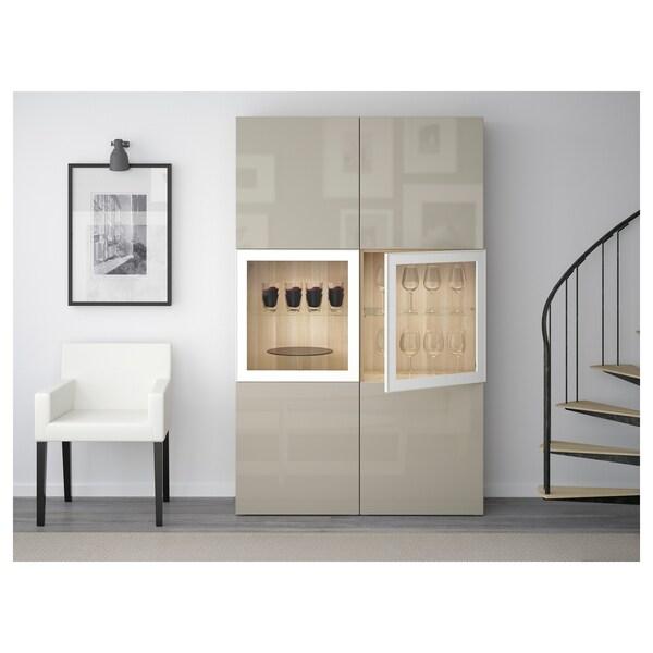 BESTÅ combinação arrumação c/portas vidro ef carvalho c/velatura branca/Selsviken brilhante/vidro transp bege 120 cm 40 cm 192 cm