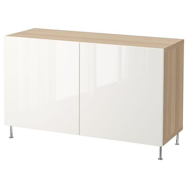 BESTÅ comb arrumação c/portas ef carvalho c/velatura branca/Selsviken/Stallarp branco/brilh 120 cm 40 cm 74 cm