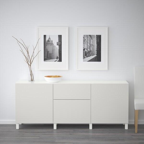 BESTÅ comb arrumação c/gavetas branco/Lappviken cinz clr 180 cm 40 cm 74 cm