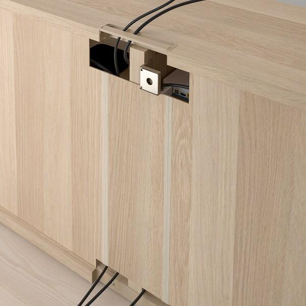 BESTÅ móvel de TV c/gavetas ef carvalho c/velatura branca/Selsviken brilhante/bege 120 cm 40 cm 74 cm 50 kg