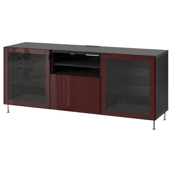BESTÅ móvel de TV c/gavetas preto-castanho Selsviken/Stallarp/brilh vermelho acastanhado escuro 180 cm 42 cm 74 cm 50 kg