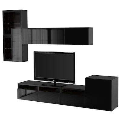 BESTÅ comb arrum TV/portas vidro preto-castanho/Selsviken vidro inc preto/brilhante 300 cm 211 cm 42 cm