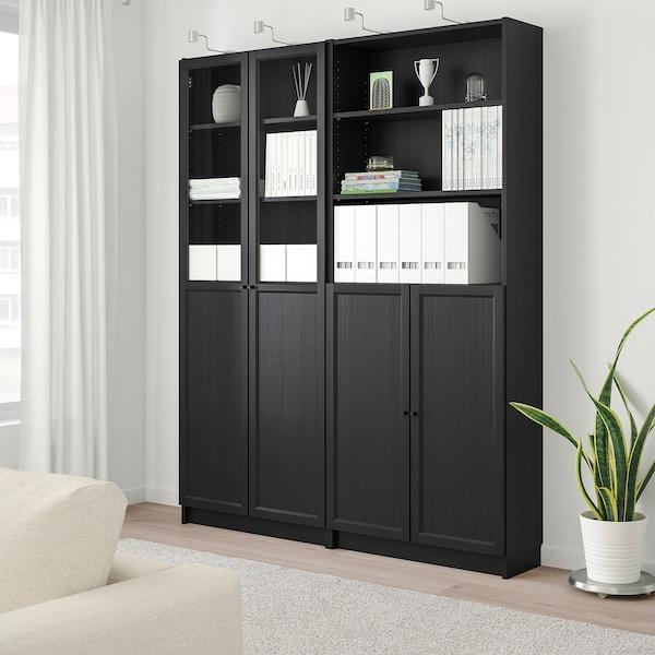 BILLY / OXBERG Estante c/painel/portas de vidro, preto-castanho, 160x30x202 cm