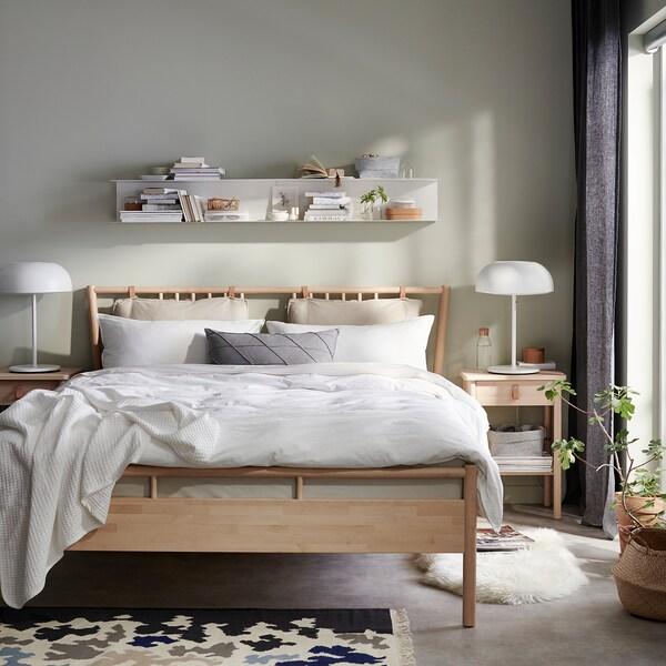 BJÖRKSNÄS Estrutura de cama, bétula/Lönset, 160x200 cm