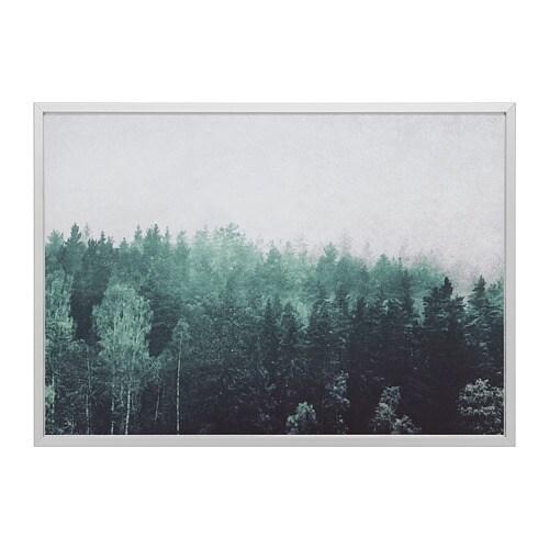 BJÖRKSTA Tela c/moldura, copas de árvores, cor de alumínio cor de alumínio 140x100 cm