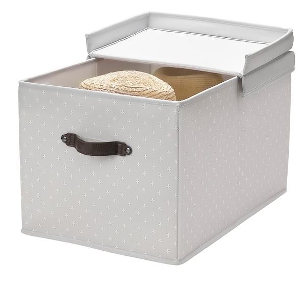 BLÄDDRARE Caixa c/tampa, cinz/c/padrão, 35x50x30 cm