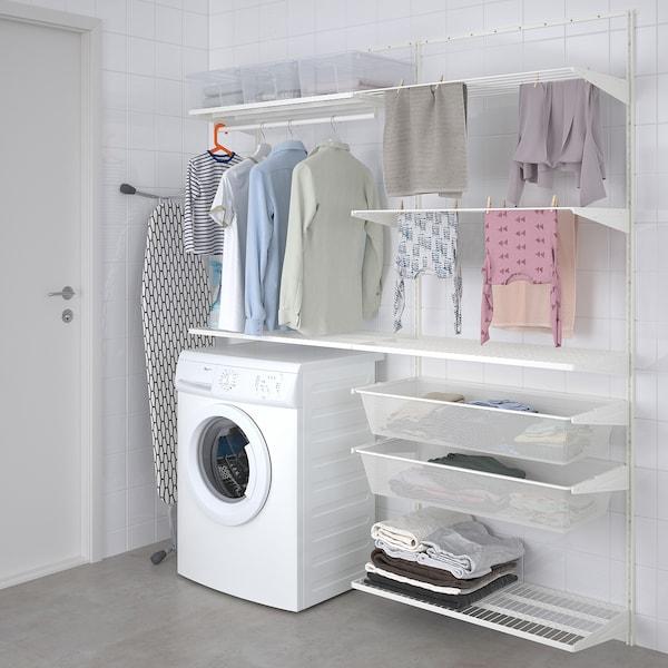 BOAXEL Combinação p/lavandaria, branco, 165x40x201 cm