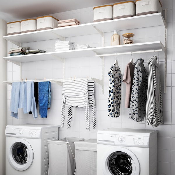 BOAXEL Combinação p/lavandaria, branco, 227x40x101 cm