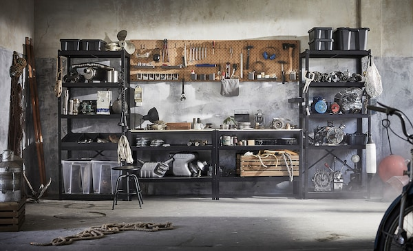 BROR Bancada de trabalho, preto/contraplacado pinho, 110x55 cm