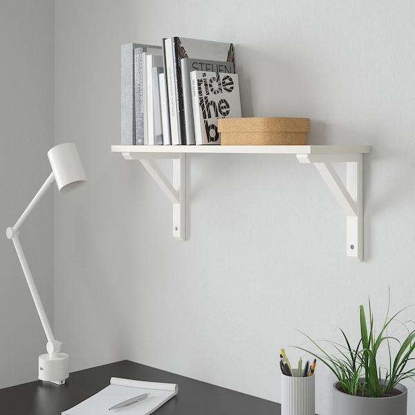 BURHULT / SANDSHULT Estante de parede, branco/álamo c/veltura branca, 59x20 cm
