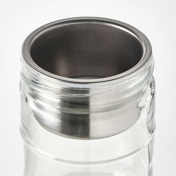 DAGKLAR Frasco c/acessório, vidro transparente/aço inoxidável, 0.4 l