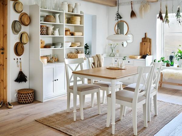 DANDERYD Mesa de refeição, chapa de carvalho/branco, 130x80 cm