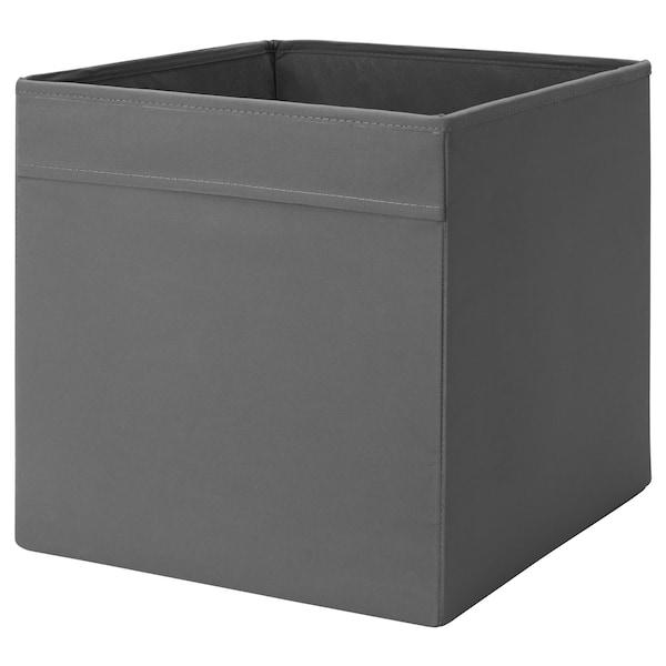 DRÖNA Caixa, cinz esc, 33x38x33 cm