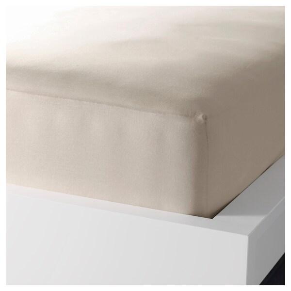 DVALA Lençol de baixo ajustável, bege, 140x200 cm