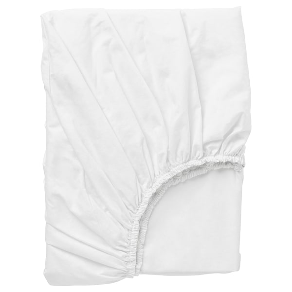 DVALA Lençol de baixo ajustável, branco, 140x200 cm