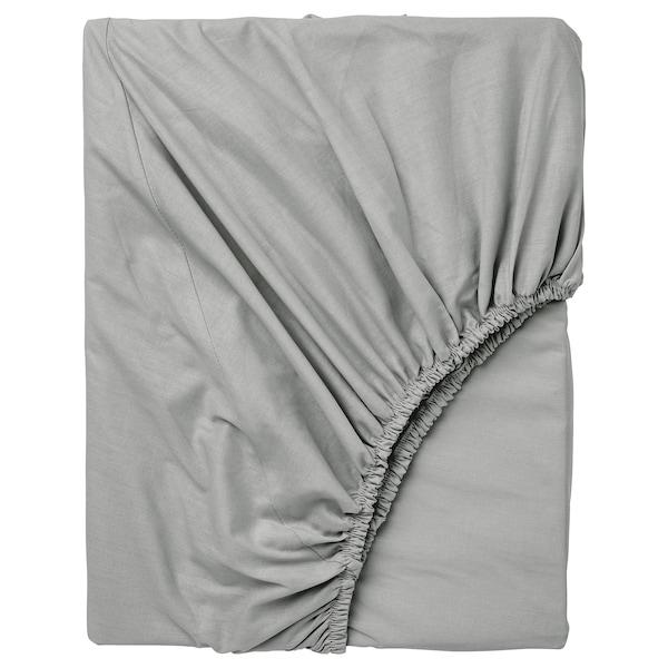 DVALA Lençol de baixo ajustável, cinz clr, 160x200 cm