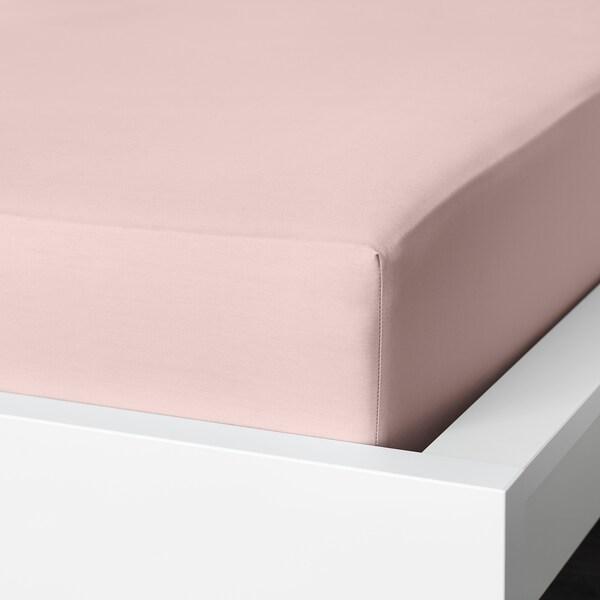 DVALA Lençol de baixo ajustável, rosa claro, 180x200 cm