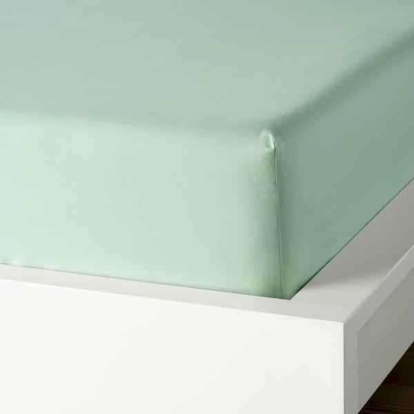 DVALA Lençol de baixo ajustável, verde claro, 160x200 cm