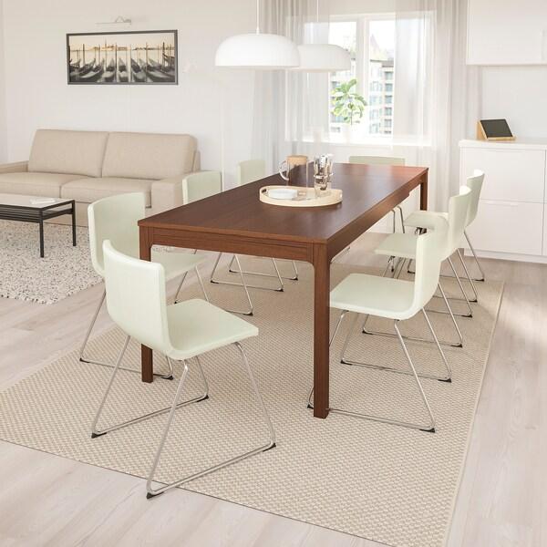 EKEDALEN / BERNHARD Mesa e 6 cadeiras, castanho/Mjuk branco, 180/240 cm