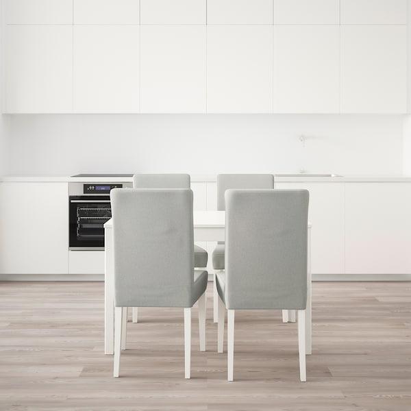 EKEDALEN / HENRIKSDAL Mesa e 4 cadeiras, branco/Orrsta cinz clr, 120/180 cm