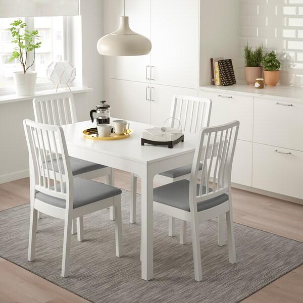 EKEDALEN Mesa e 4 cadeiras, branco/Orrsta cinz clr, 120/180 cm