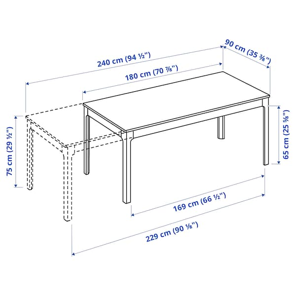 EKEDALEN Mesa extensível, castanho, 180/240x90 cm
