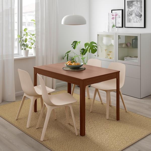 EKEDALEN / ODGER Mesa e 4 cadeiras, castanho/branco bege, 120/180 cm