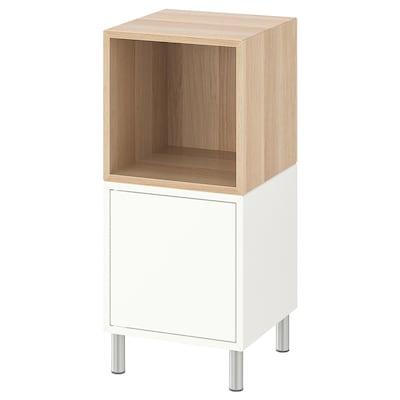 EKET Combinação armário c/pernas, branco/ef carvalho c/velatura branca, 35x35x80 cm