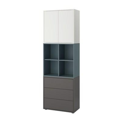 EKET Combinação armário c/pés, branco/turquesa acinzentado cinz esc, 70x35x212 cm
