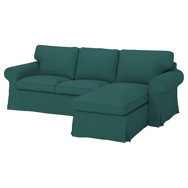 EKTORP Capa p/sofá 3 lugares, c/chaise longue/Totebo turquesa escuro