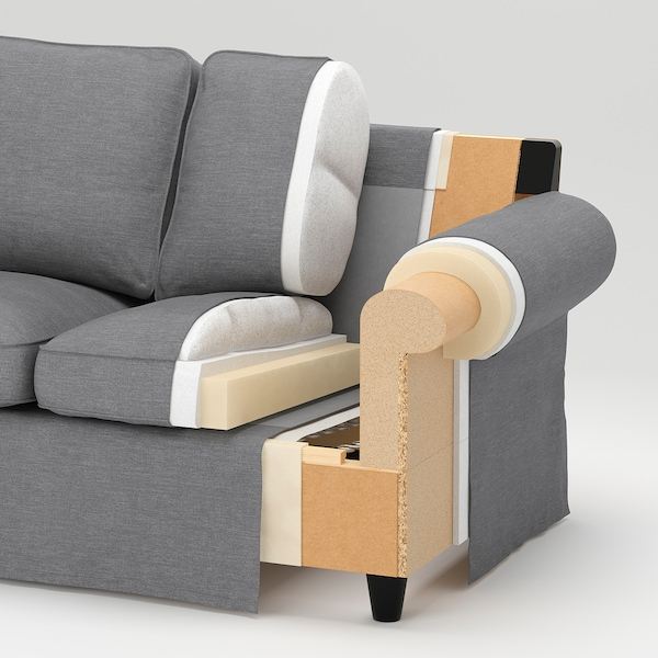 EKTORP Sofá 3 lugares c/chaise longue, Hallarp cinz