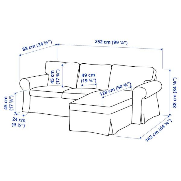 EKTORP Sofá 3 lugares c/chaise longue, Virestad verm/branco