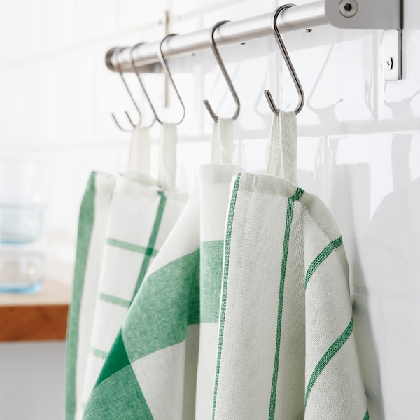 ELLY pano de cozinha branco/verde 65 cm 50 cm 4 unidades