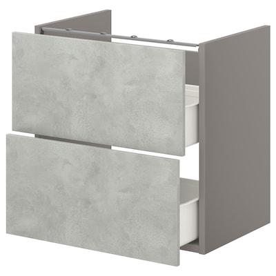 ENHET Arm baixo p/lavatório c/2 gavetas, cinz/efeito betão, 60x42x60 cm