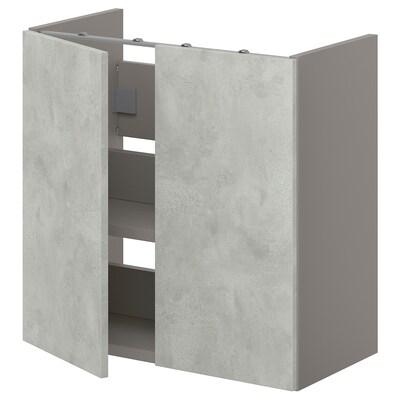 ENHET Arm baixo p/lavatório c/prat/portas, cinz/efeito betão, 60x32x60 cm