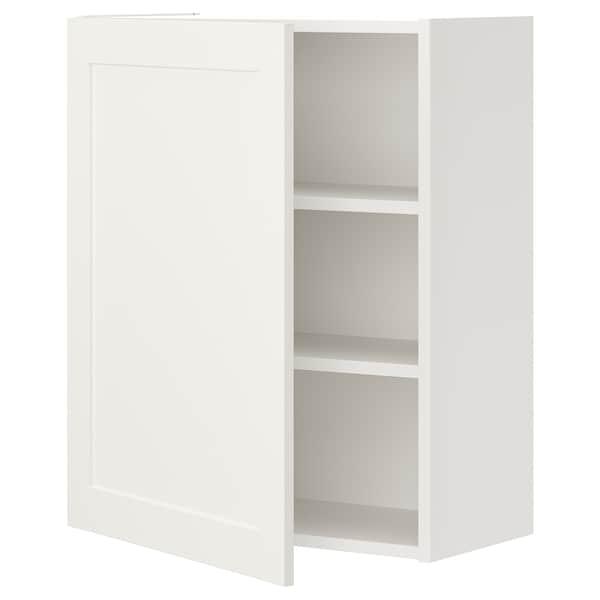 ENHET Armário parede c/2 prat/porta, branco/branco estrutura, 60x32x75 cm