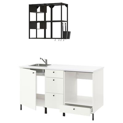 ENHET Cozinha, antracite/branco, 163x63.5x222 cm