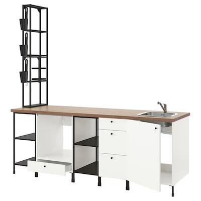 ENHET Cozinha, antracite/branco, 243x63.5x241 cm