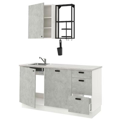 ENHET Cozinha, antracite/efeito betão, 163x63.5x222 cm