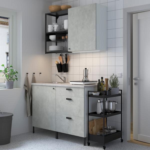 ENHET Cozinha, antracite/efeito betão, 123x63.5x222 cm