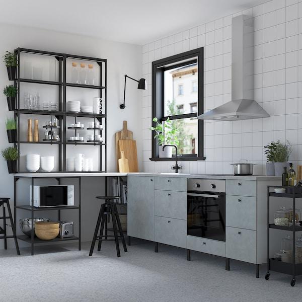ENHET Cozinha de canto, antracite/efeito betão